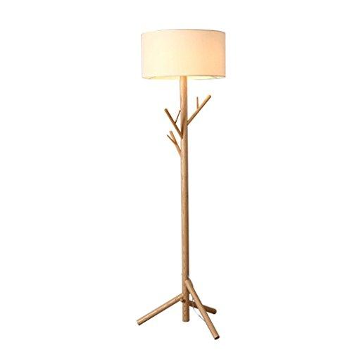ZH Nordic Wood Hanger lampadaire chambre à coucher étude salon lampe de plancher en tissu