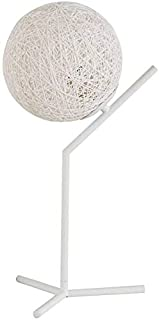 Mopoq Bedside Lamp with Grass and Rattan Woven Lampshade Bedroom Table Lamp Hemp Ball Decorative Lamp Living Room Lamp wit...