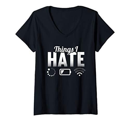 Damen Nerd, Geek, Gaming, Informatiker, WLAN Motiv-Sprüche T-Shirt mit V-Ausschnitt