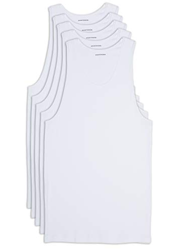 Amazon Essentials Men's Big-Tall 5-Pack Tank Undershirts Shirt, -White, 4XL