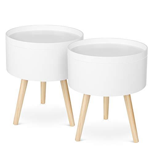Homfa Beistelltisch 2er Set Couchtisch Wohnzimmertisch Sofatisch Kaffeetisch Tisch Holz weiß 38x18x46cm
