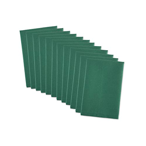 DII 100% Cotton, Machine Washable Everyday Basic Buffet Napkin, 16 x 16', Dark Green, Set of 12
