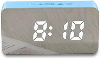HSXOT Creative Teléfono Móvil Cargando Espejo Reloj De Pared Reloj Despertador Dormir Control De Temperatura Y Humedad Led Color Reloj Azul Fresco
