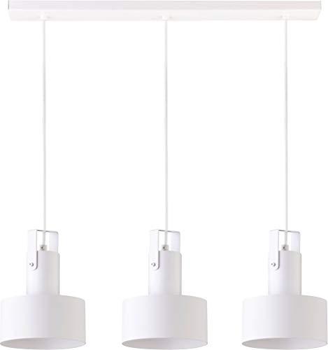 elbmöbel - Lampadario a sospensione in metallo nero e bianco, 3 luci, tessuto moderno, Weiß - 3 Flammig 60.0W