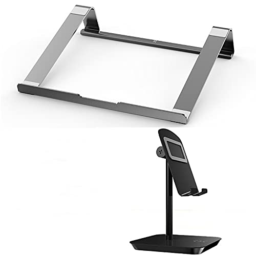 MEYYY Laptop-Ständer, tragbare Laptop-Halterung & Telefon-Ständer Kombination, Vollaluminium, leicht, kompatibel mit Laptop, MacBook Pro/Air, Lenovo, Samsung, Acer