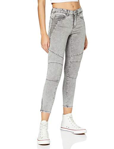 ONLY Damen ONLROYAL Life REG SK BIKR Zip ANK BB PIM Jeans, Light Grey Denim, 30 L