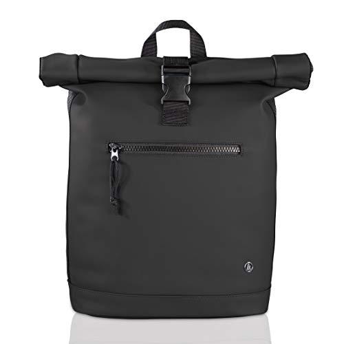Hama Laptop Rucksack für Damen & Herren (Rolltop Rucksack mit Notebook Fach für PC bis 15.6 Zoll und Tablets, 15 Liter Fassungsvermögen, ergonomisches Design) schwarz