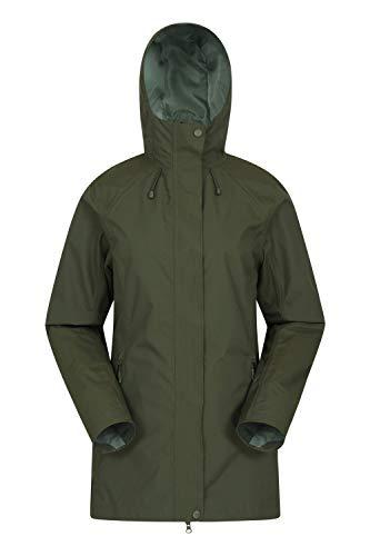 Mountain Warehouse Rainstorm wasserdichte Regenjacke für Damen - atmungsaktiver Regenmantel, mit verschweißten Nähten - ideal für nasses Wetter, Reisen und Wandern Khaki 32 DE (34 EU)