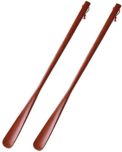 ZyHMW Comfortable Shoehorn Shoe Horn 2 Pack Long Travel Shoehorn Wooden Shoe Helper Very Useful Gadget Perfect Shoe Horn Stylish and Lightweight Design (Color : Brown, Size : 55 4cm)