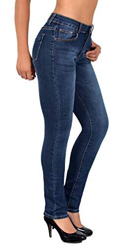 ESRA Damen Jeans Hose Damen High Waist Jeanshose Straight Leg Hochbund Hosen bis Übergröße G300