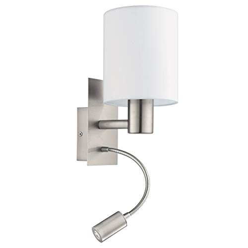 EGLO LED Wandlampe Pasteri, 2 flammige Textil Wandleuchte, Material: Stahl, Stoff, Farbe: Nickel matt, weiß, Fassung: E27, inkl. Schalter und flexiblen Leselicht