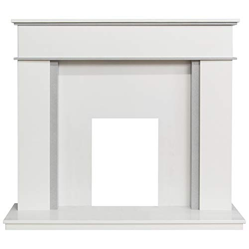 """White and Grey Marble Stone Modern Fire Surround Gas Electric Fireplace Suite Large Big 54"""" - 1"""" Rebate"""
