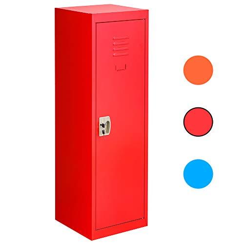 "Kids Locker, Metal Lockers for Kids Bedroom, Kids Cabinet for Kids Room, 48"" Red Steel Storage Lockers for Toys, Clothes, Sports Gear, INTERGREAT"