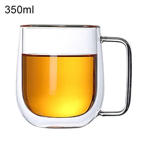 YKW 250 / 350ml Trasparente Doppia Parete caffè tè Acqua Tazza di Vetro Tazza isolata Tazza da drinkware Tazze di Vetro Doppia Parete Tazza da Muro drinkware (Color : 350ml)