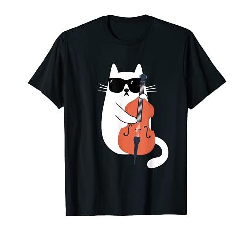 Gato Gracioso con Gafas de Sol de Músico Contrabajo Camiseta