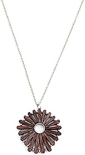 banbeitaotao Collar para Damas Europeas y Americanas en Estilo Simple Cadena de Madera Redonda Regalos geométricos
