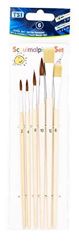 TSI 49106 Pincel, naturaleza, Haarpinsel 2,4,6,10 - Borstenpinsel 8,12