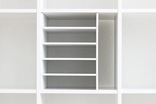 INWONA Kallax Expedit Regal DIN A4 Einsatz Ablage Papierfach Papierregal Postfach Sortierfach Papier Fach Aufbewahrung Dokumentenablage Fachteiler für 5 Einzelfächer 25 x 33,5 x 36 cm Weiß