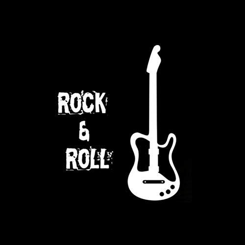 MCTYLI 15,8 cm x 3,2 cm Creative Rock Y Guitar Vinyl zwart / zilver autosticker