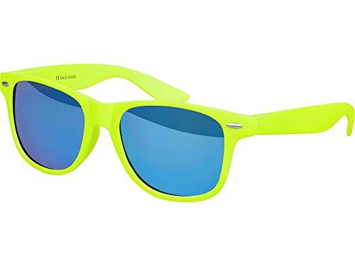 Balinco Hochwertige Nerd Sonnenbrille Rubber im Retro Stil Vintage Unisex Brille mit Federscharnier - 96 verschiedene Farben/Modelle wählbar (Neongelb - Blau verspiegelt)