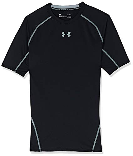 Under Armour UA HeatGear Short Sleeve, Maglietta Uomo, Nero (Black/Steel 001), S