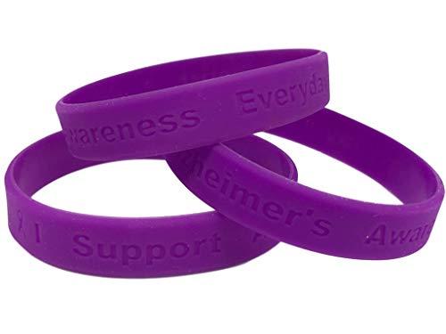 1 Purple Alzheimer's Awareness'I Support Alzheimer's Awareness Everyday' - 100% Medical Grade Silicone Bracelet