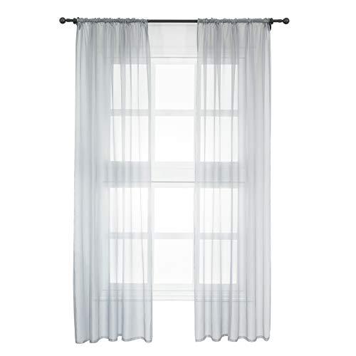 WOLTU VH5511gr-2, 2er Set Gardinen Vorhänge transparent mit Kräuselband Stores für Schiene, Doppelpack Fensterschal Voile für Wohnzimmer Schlafzimmer Kinderzimmer Landhaus, 140x245 cm Grau