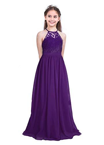 CHICTRY Kids Girls Halter Neck Chiffon Long Party Junior Wedding Evening Prom Maxi Gown Dress Deep Purple 14