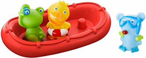 HABA - 303866 - Badeboot Tiermatrosen ahoi! | Badespielzeug mit Boot, Frosch, Ente und Maus | Set aus Badeboot mit drei Fingerpuppen zum Aufstecken | Badewannenspielzeug ab 12 Monaten