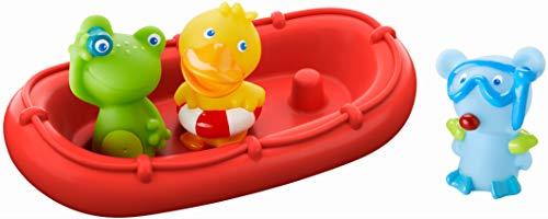 Haba - 303866 - badboot diermatrozen ahoi! | Badspeelgoed met boot, kikker, eend en muis | set van boot met drie vingerpoppen om op te steken | badspeelgoed vanaf 12 maanden