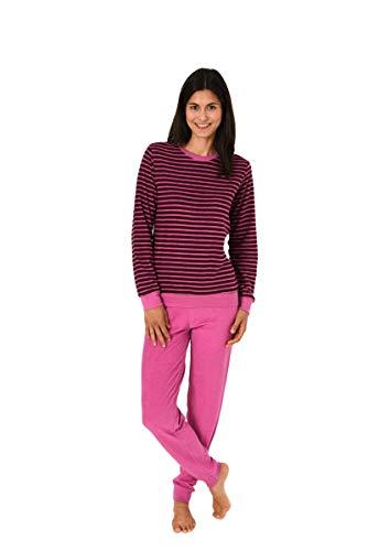 Unbekannt Damen Frottee Pyjama mit Rundhals, Ringel Beere/Rose, Uni Hose Rose, 61776, Gr. L 44/46