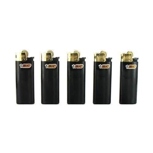 5 briquets bic mini à pierre gold