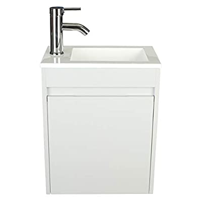 """eclife Bathroom Vanity W/Sink Combo 16"""" for Small Space MDF Paint Modern Design Grey Wall Mounted Cabinet Set, White Resin Basin Sink Top, Chrome Faucet W/Flexible U Shape Drain B10G"""