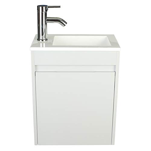 """eclife Bathroom Vanity W/Sink Combo 16"""" for Small Space MDF Paint Modern Design Grey Wall Mounted Cabinet Set, Gray Resin Basin Sink Top, Chrome Faucet W/Flexible U Shape Drain B10G"""