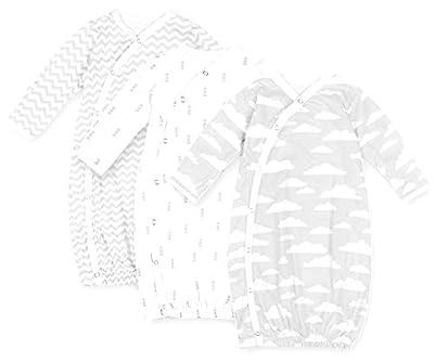 BaeBae Goods Baby Kimono – Baby Kimono Gown – Newborn Kimono Grey Clouds – Kimono Baby Clothes 3 Pack – Baby Girl Kimono – Baby Boy Kimono Sleepsuit Age 3-6 Months – Soft Pure Cotton Baby Kimono