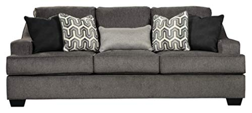 Signature Design by Ashley - Gilmer Contemporary Chenille Upholstered Sofa w/ 5 Accent Pillows, Charcoal Gray