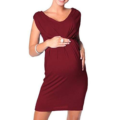 Sannysis Damen Umstandskleid Schwangerschafts Tulpenkleid Maternity Still-Kleid Umstands Nachthemd Hohe Taille Umstands- Kleid Gerafftes Dress (XXL, Wein)
