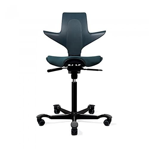 HAG Capisco Puls Adjustable Standing Desk Chair - Black Frame - Fathom Blue Full Cushion