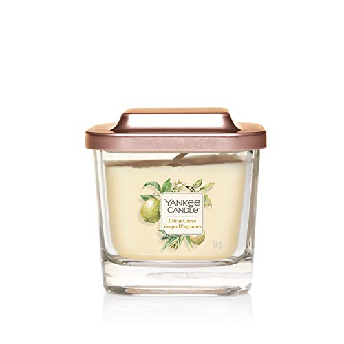 Yankee Candle Elevation Collection con Coperchio della Piattaforma Candela Quadrata a 1 Stoppino, Agrumeto, Piccola