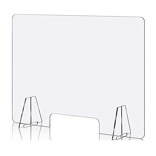 HLILY Glasklar Schutzwand Thekenaufsatz- Spuckschutz Plexiglas Aus Acrylglas Mit 4mm - 60x60cm(BxH) Hustenschutz Niesschutz Tischaufsatz Tresenaufsatz Praxis Und Apotheke