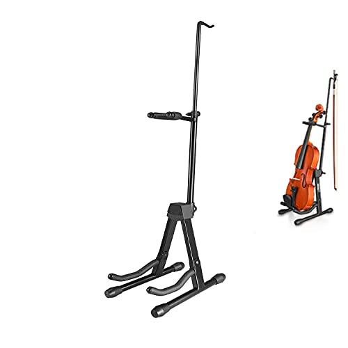 Eastar Soporte para Violín Stand para Violín de Metal con Soporte para Arco , Graduable Plegable y Portátil, Color Negro (EST-006)