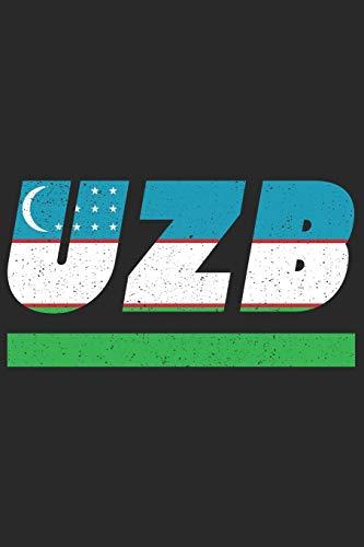 UZB: Usbekistan Notizbuch mit karo 120 Seiten in weiß. Notizheft mit der usbekischen Flagge