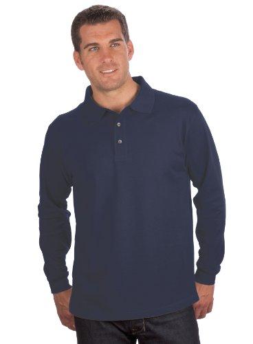 Qualityshirts Langarm Polo Shirt, Gr. 3XL, dunkelblau