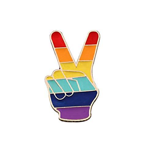 WEHONG Pines De Arco¨ªris Coraz¨®n Estrella Paleta Esmalte Pin Orgullo Gay Arco¨ªris Broches Insignia Ropa Bolsa Pin De Solapa Joyer¨ªa De Moda???Victoria