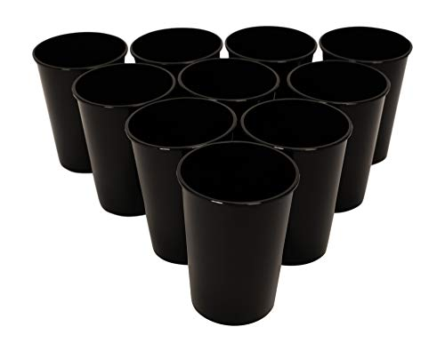 CSBD Stadium 12 oz. Plastic Cups, 10 Pack, Blank Reusable Drink Tumblers for Parties, Events, Marketing, Weddings, DIY Projects or BBQ Picnics, No BPA (Black)