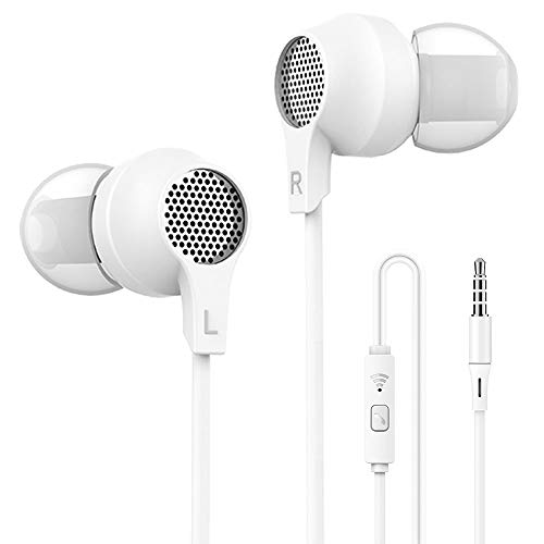 Super me, in-Ear Headphones Sleep Headset with Mic and Remote Control, Bright White