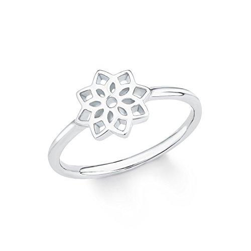 s.Oliver Damen-Ring So Pure Blume Blüte 925 Sterling Silber rhodiniert