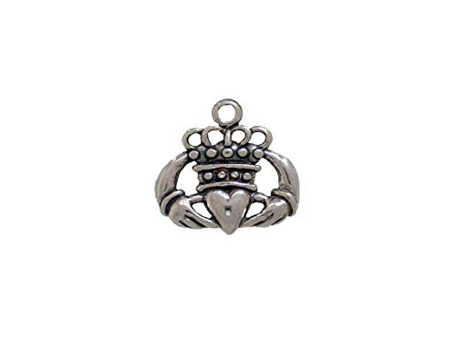 Sterling Silver Claddagh Charm Silver Claddagh Charm Claddagh Necklace Claddagh Earring Claddagh Bracelet Celtic Jewelry Irish Heart charm