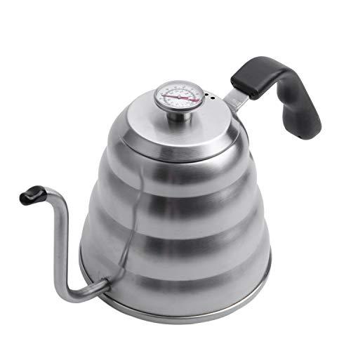 OVBBESS Hervidor de café premium con una temperatura precisa de 40 onzas líquidas – Tetera de cuello de cisne – Tetera de acero de 5 tazas para estufa –
