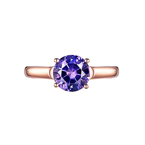 Dreamdge Women Engagement Rings 18K Rose Gold Solitaire Ring, Round Purple Amethyst Ring 1.43ct Size L½